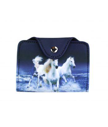 Porte-cartes - 3 chevaux blancs sur l'eau