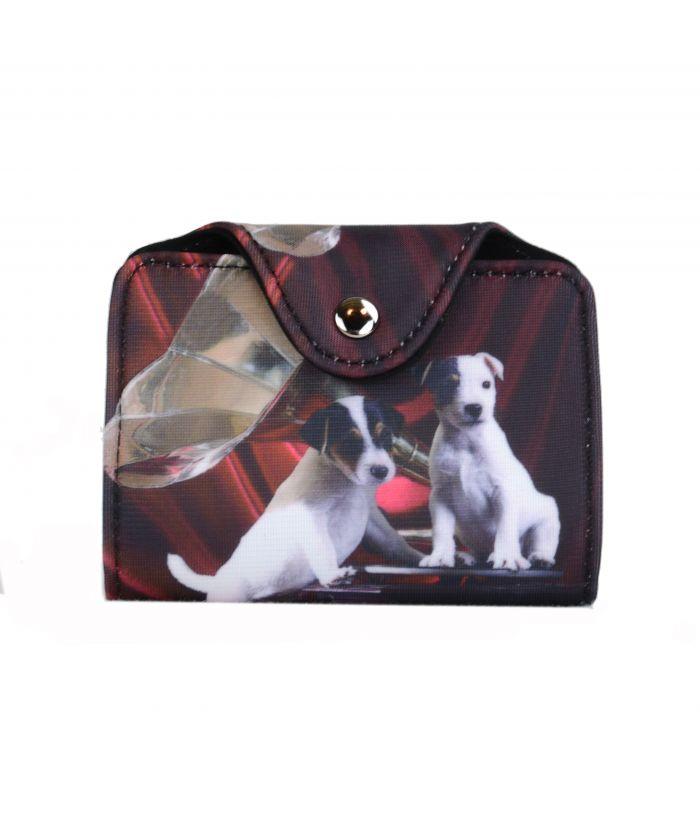 Porte-cartes - 2 Jacks Russels noir et rouge