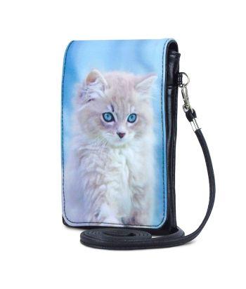 Pochettes téléphones XL - Chaton fond bleu ciel