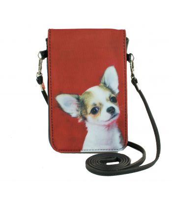 Pochettes téléphones XL - Chihuahua fond rouge