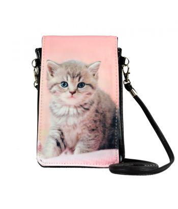 Pochettes téléphones XL - Chaton tigré fond rose pâle