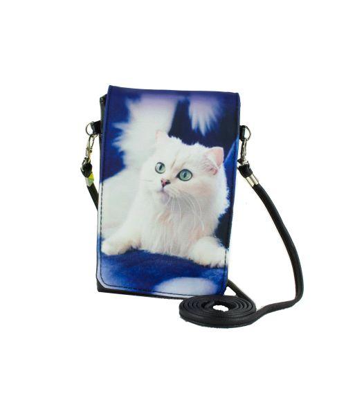 Pochettes téléphones XL - Chat Persan blanc fond bleu roi
